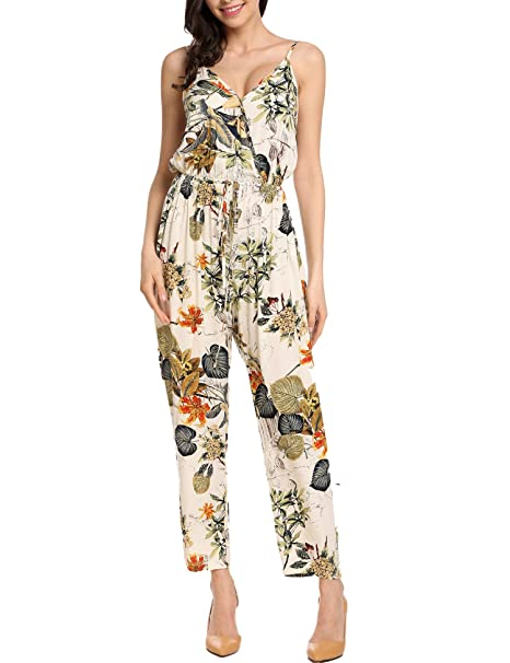 c3736c1450d Zeagoo Women s Sleeveless Wrap Front Long Pant Floral Print Jumpsuit Romper