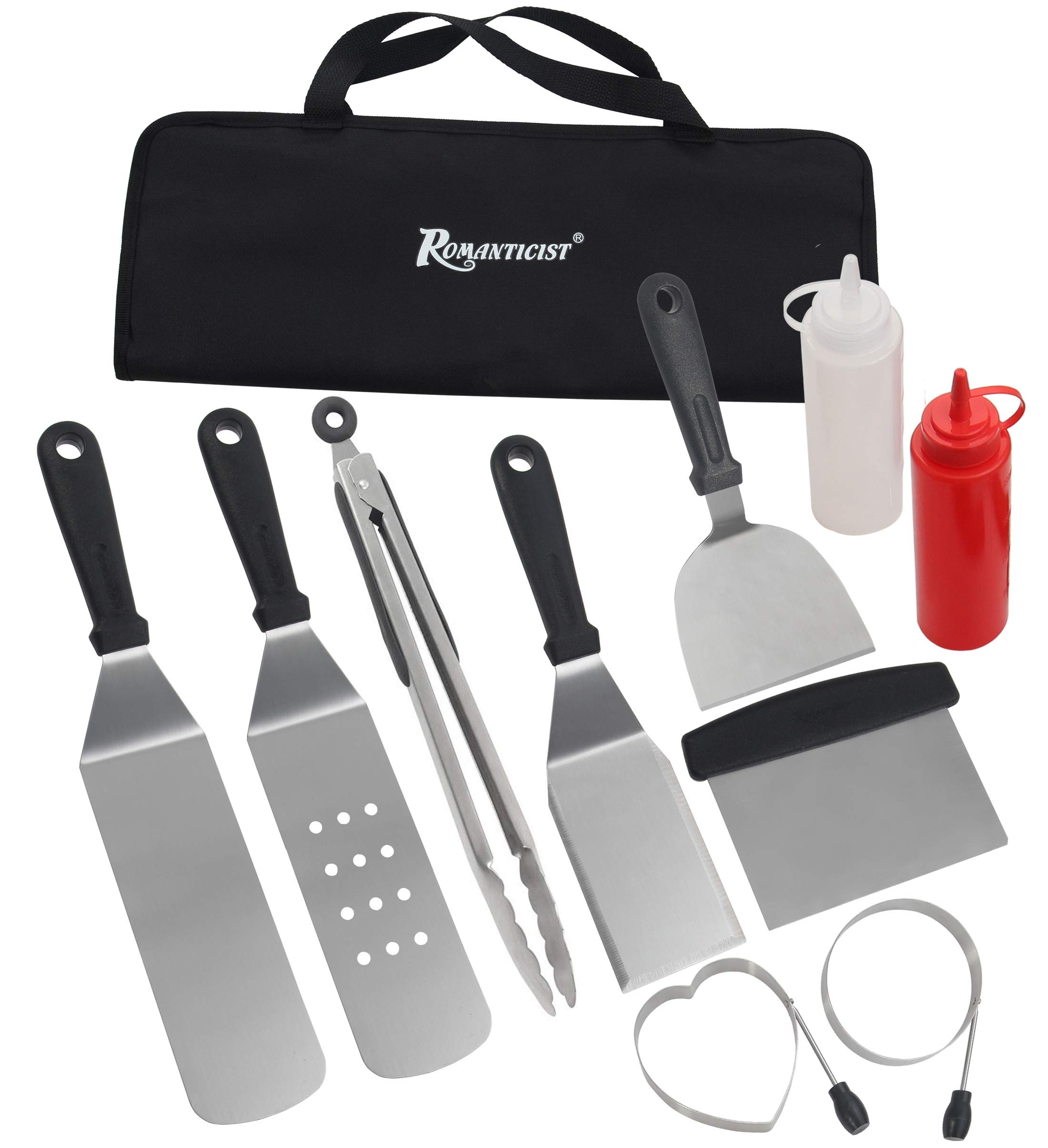 ROMANTICIST 11PC Griddle Accessories Kit with Carrying Bag - Restaurant Grade Griddle Spatula Set for Flat Top Grill Hibachi Cooking - Perfect BBQ Gift for Men Dad on Fathers Day by ROMANTICIST (Image #1)