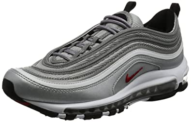 NIKE Men's Air Max 97 OG QS, Metallic Silver/Varsity Red, ...
