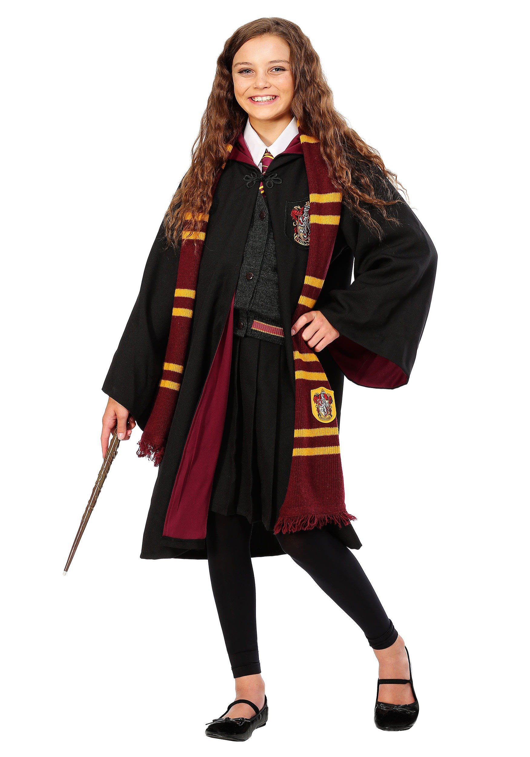 Girls Deluxe Hermione Granger Uniform and Robe Costume - XS by Charades (Image #2)