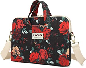 Dachee Red Rose Patten Waterproof Laptop Shoulder Messenger Bag Case Sleeve for 12 Inch 13 Inch Laptop