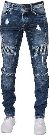 Enzo - Pantalones vaqueros para hombre, ajustados, elásticos, con cintura