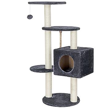 [en.casa] Rascador para gatos (40 x 40 x 113 cm aprox)(gris) varios niveles - sisal - con juegos y sitio para acurrucarse: Amazon.es: Hogar