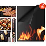 """Houseasy BBQ Grill Mat - Set of 2 Non-Stick Grilling Mats Barbecue Pad, FDA-Approved, PFOA Free, Reusable and Easy to Clean, Grill Mats Works (16"""" x 13"""")"""