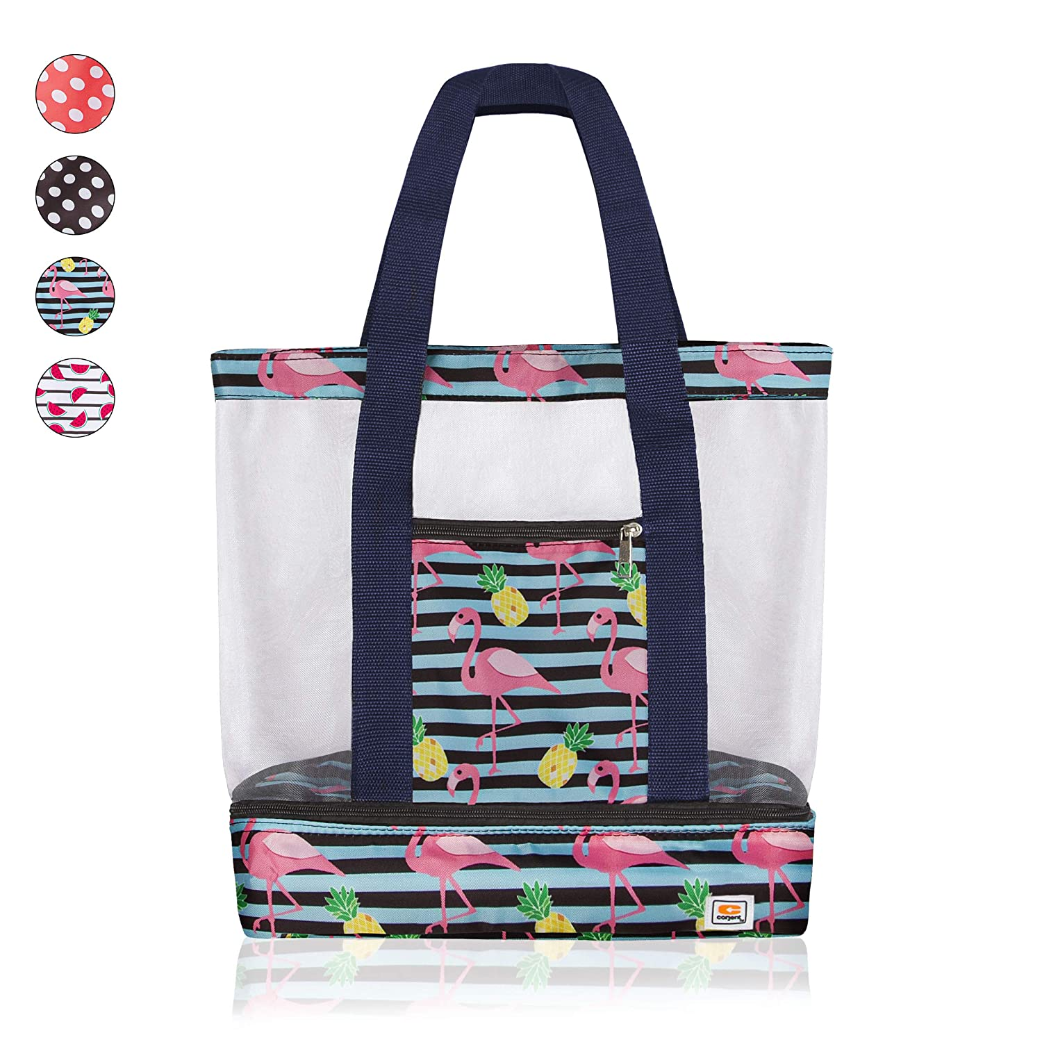 Beach Tote Bag with Mesh Top and Insulated Picnic Cooler Compartment Pineapple//Flamingo