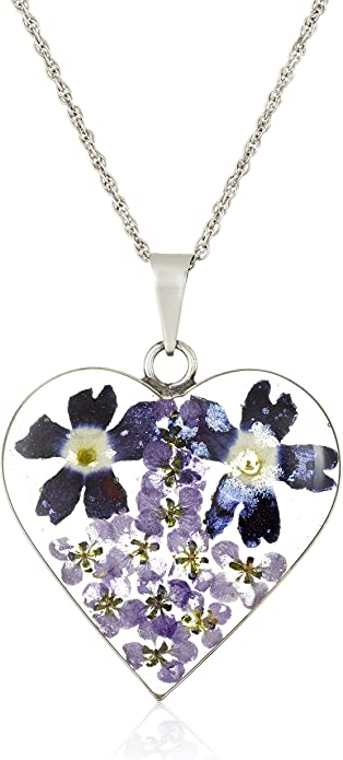 Real Dried Flower Pendant Purple Daisy Preserved Flower in Resin Black Cord Necklace Sterling Silver