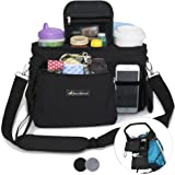BEST STROLLER ORGANIZER WITH CUP HOLDERS - Universal Fit - Premium Storage Bag for Moms Phone, Wallet, Keys, Snacks, Baby Items - Zip Off Wristlet - Baby Travel Accessories - Perfect Baby Shower Gift