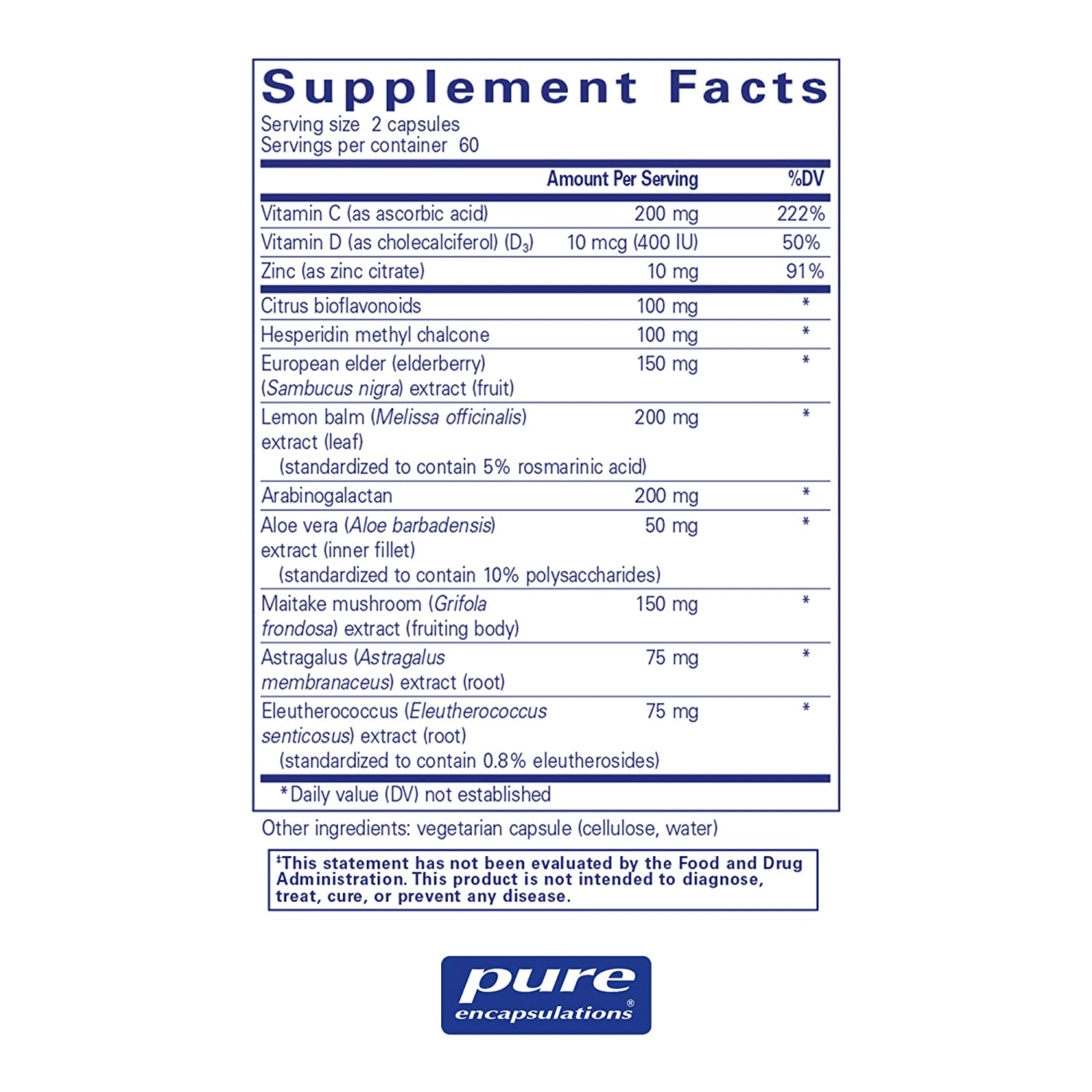 Pure Encapsulations – Daily Immune – Comprehensive Immune Formula with Vitamin, Mineral, and Herbal Support* – 120 Capsules