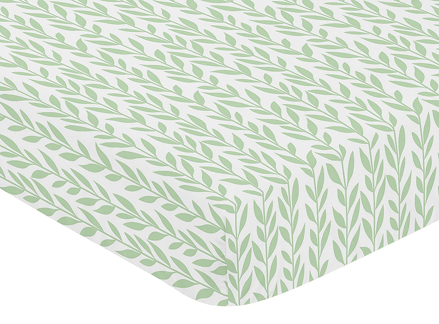 Boho Farmhouse Sunflower Collection Sweet Jojo Designs Green and White Leaf Floral Girl Baby or Toddler Nursery Fitted Crib Sheet