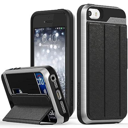 VENA iPhone SE / 5S / 5 Brieftasche Hülle, vCommute Schutzhülle Leder Handyhülle Etui mit Kartenfach und Ständer [Kartensteck