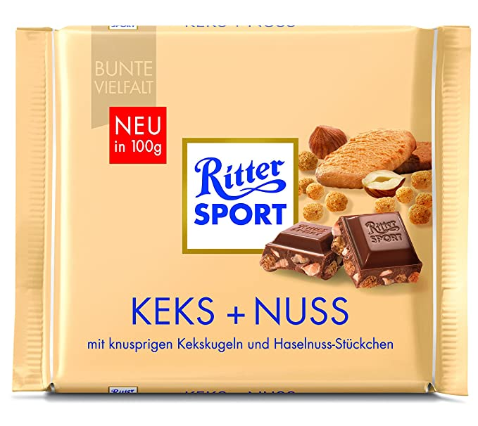 Ritter Sport Galletas + nogal (10 x 100 g), Chocolate con Leche Chocolate