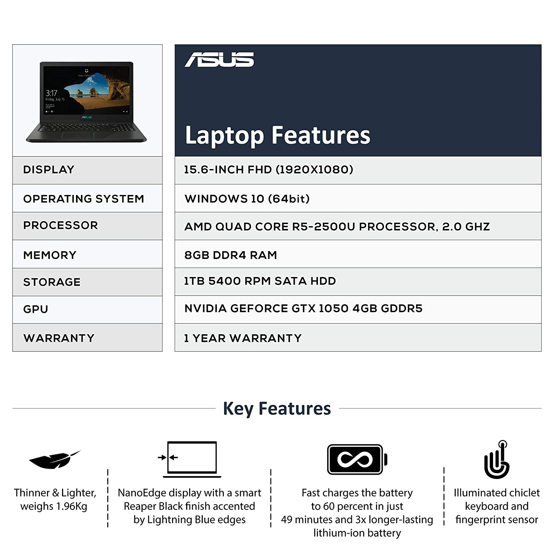 ASUS F570 ( AMD Quad Core R5-2500 /8 GB/1TB / 15 6