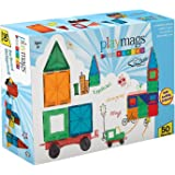 Playmags Clear Colors Magnetic Tiles Building Set with Car (50 Pieces)