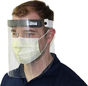 USA Face Shields (5 Count) Lightweight Reusable Full Face and Eye Protection Shields, Made in USA