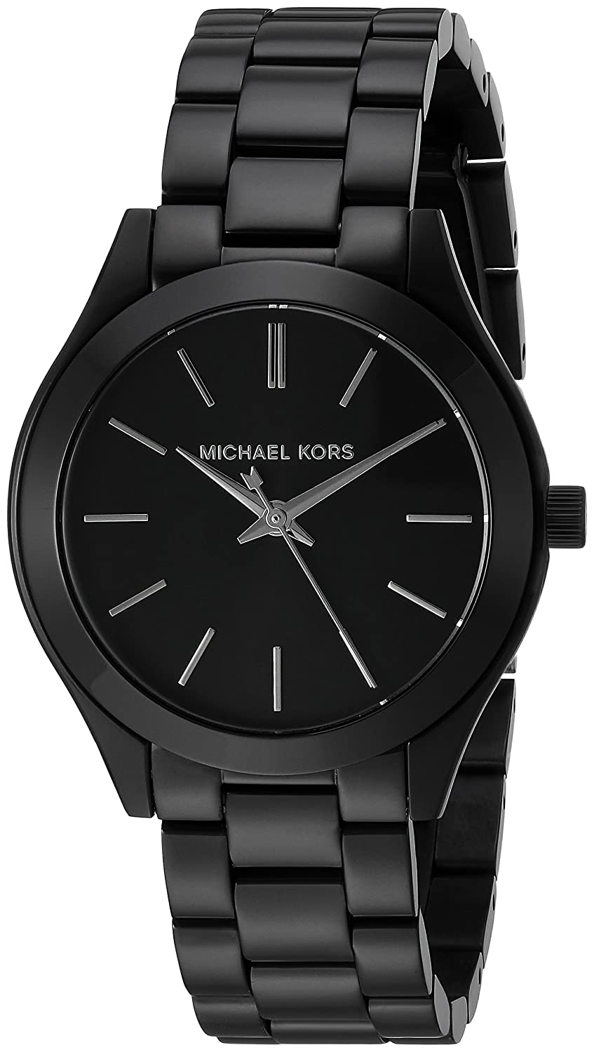 2d63d371ef4 Details about Michael Kors Women s MK3587 Mini Slim Runway Black Stainless  Steel Watch