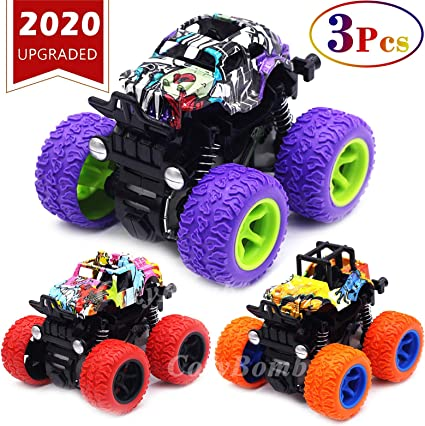 Amazon Com Monster Trucks Toys For Boys Friction Powered 3 Pack Mini Push And Go Car Truck Playset For Boys Girls Toddler Aged 3 4 5 Year Old Gifts For Kids Birthday Purple