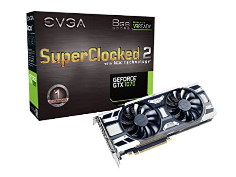 EVGA GeForce GTX 1070 SC2 Gaming, 8GB GDDR5, iCX Technology - 9 Thermal Sensors, Asynch Fans, Optimized Airflow Design Graphics Card 08G-P4-6573-KR