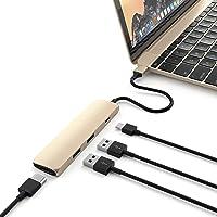 Multi Puerto Delgado de Aluminio Tipo C Satechi Adaptador con Puerto de Carga USB-C, Salida de Video HDMI 4k, y 2 Puertos USB 3.0 compatible con 2016/2017 MacBook Pro, 2015/2016 MacBook, Google Chromebook 2016 y más (Oro)