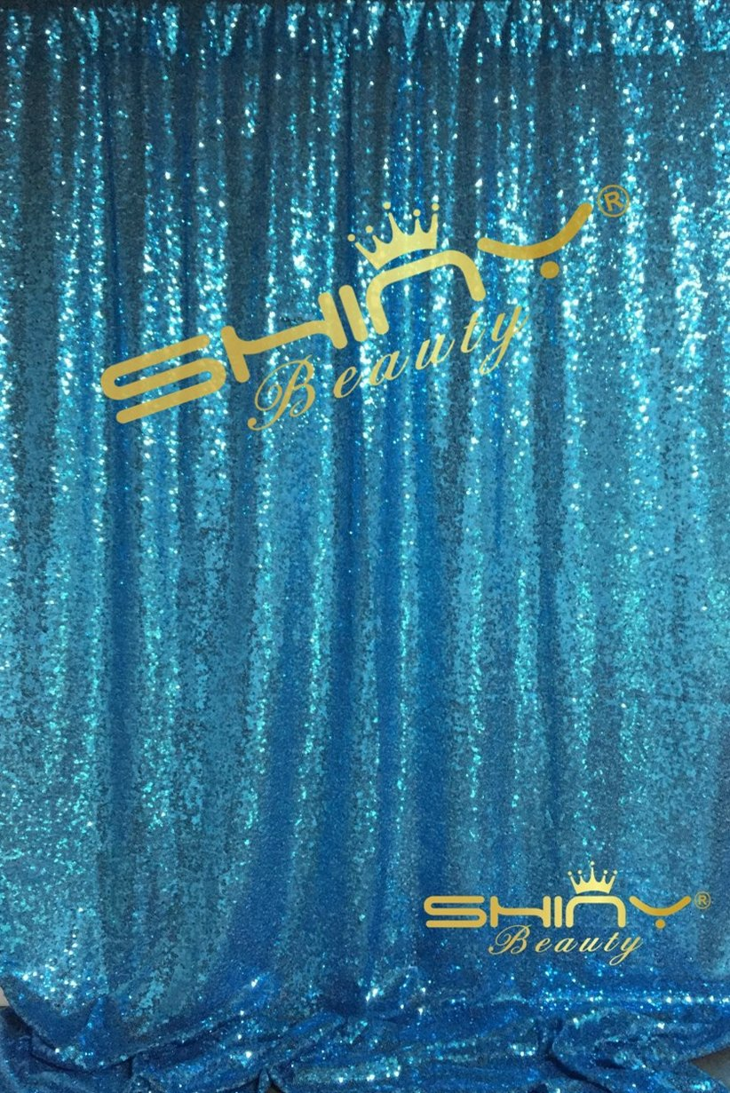 ShinyBeauty-Sequin-Curtain-Backrop-12FTx12FT-Aqua Blue, Glitz Photography Background, Fast Shipping!