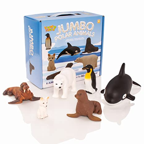 Learning Minds Set de 6 Figuras de Animales de Jumbo Polar