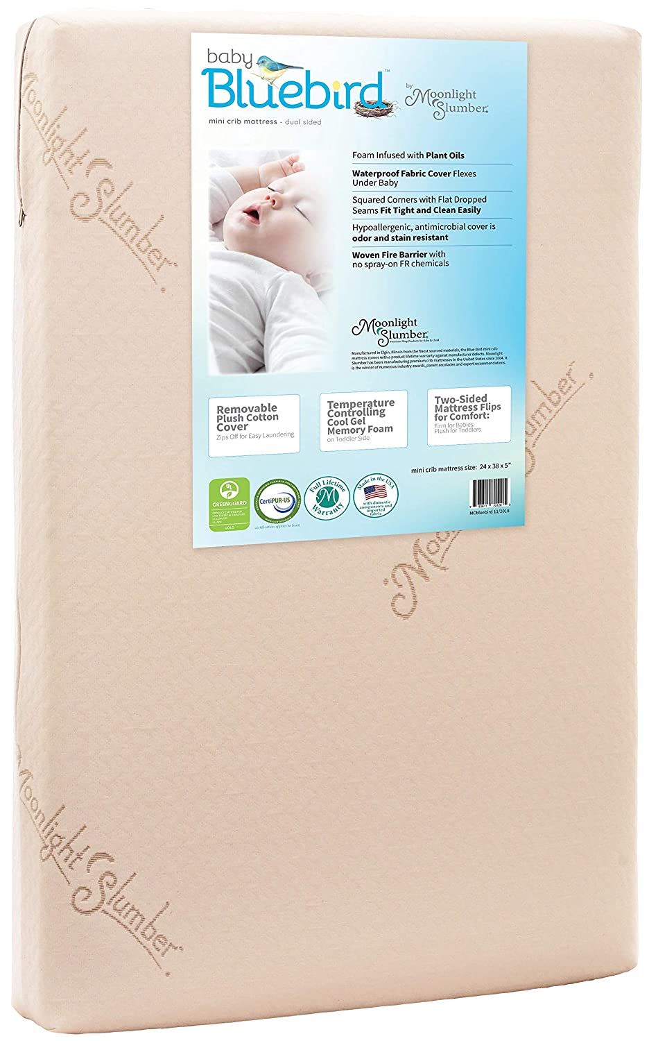 Moonlight Slumber Mini Crib Mattress 5  Dual Firmness  Baby blueebird Waterproof Portable Crib & Toddler Bed Mattress   Cool Gel Memory Foam + Removable Plush Cotton Cover. Hand Made in USA (38x24x5 )