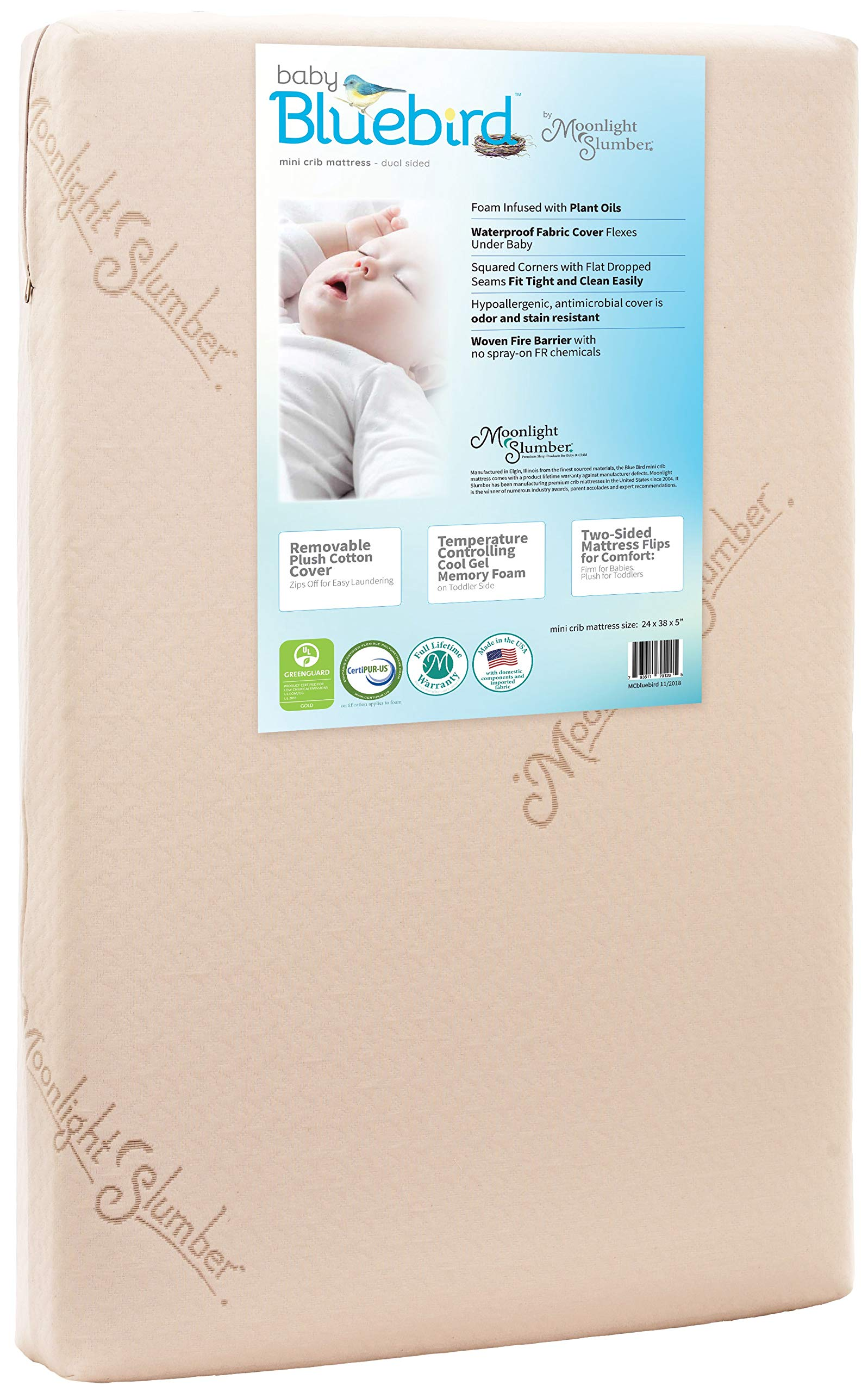 Moonlight Slumber Mini Crib Mattress 5'' Dual Firmness: Baby Bluebird Waterproof Portable Crib & Toddler Bed Mattress : Cool Gel Memory Foam + Removable Plush Cotton Cover. Hand Made in USA (38x24x5) by Moonlight Slumber