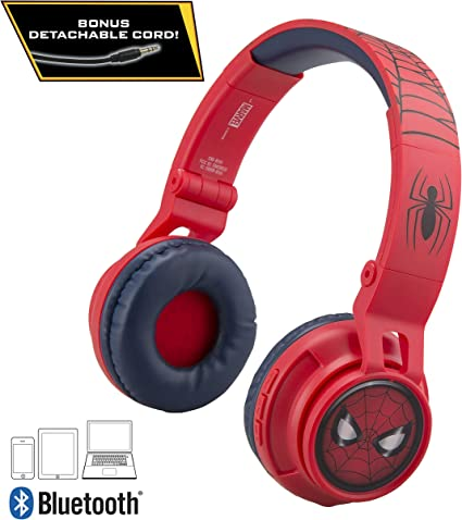 Amazon Com Kids Bluetooth Headphones For Kids Spiderman Far From Home Wireless Rechargeable Foldable Bluetooth Headphones With Microphone Kid Friendly Sound And Bonus Detachable Cord Toys Games