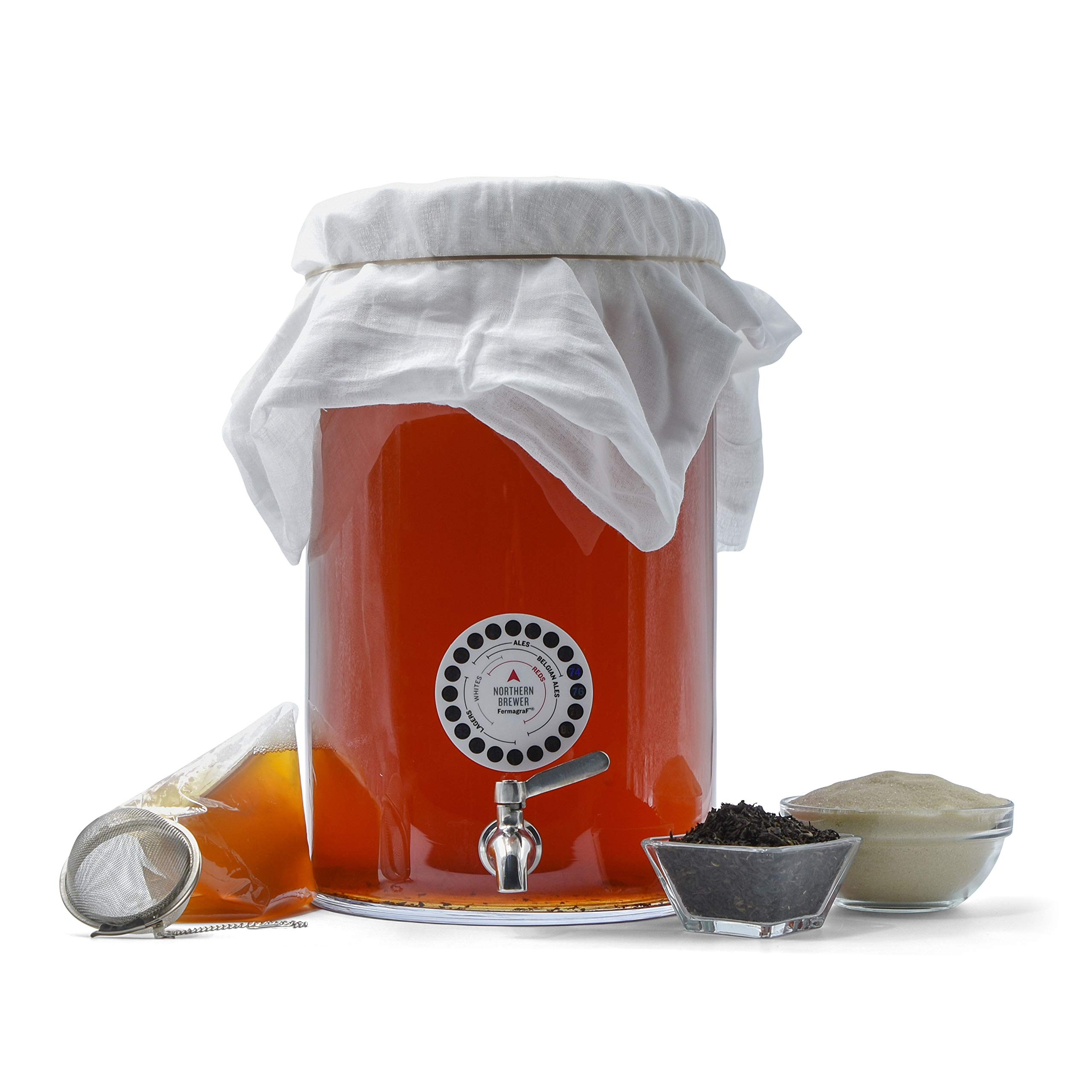 Northern Brewer- Kombucha Brewing Starter Kit With Scoby & Glass Fermenter Jar Equipment For Making Kombucha Continuous Batches At Home (3 Gallon)