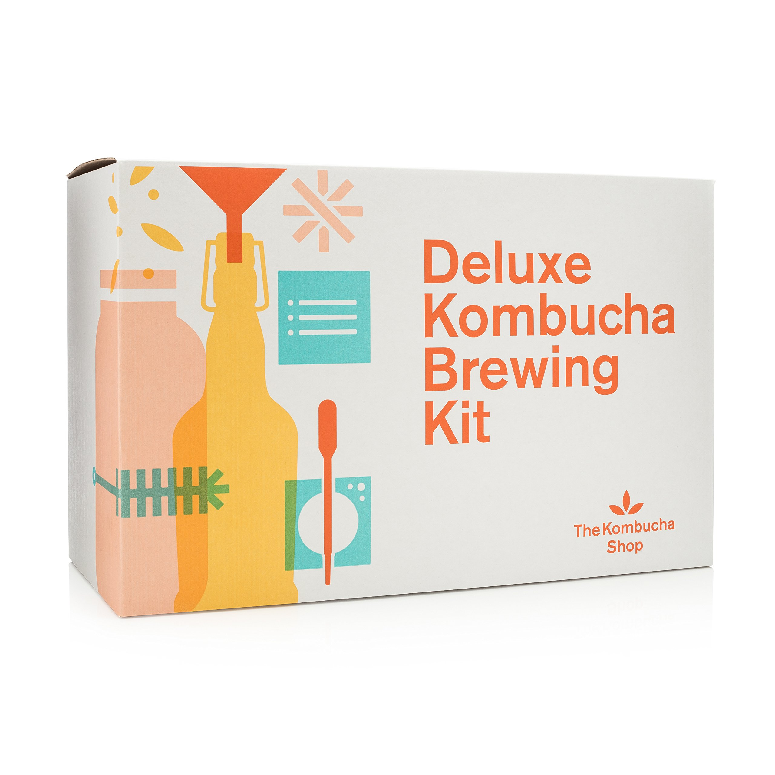 Deluxe Kombucha Brewing Kit - Six Swing Top Bottles, Stainless Steel Funnel, Custom Bottle Brush & Our Original Brewing Kit by The Kombucha Shop