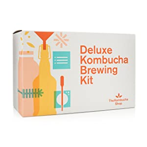 Deluxe Kombucha Brewing Kit - Six Swing Top Bottles, Stainless Steel Funnel, Custom Bottle Brush & Our Original Brewing Kit