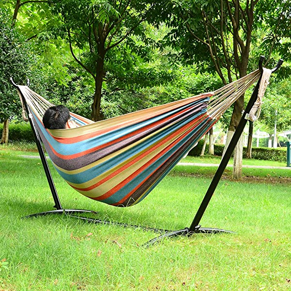 Ohuhu Double Hammock With Space Saving Steel Stand Includes Portable Carrying Case