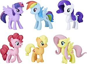 "My LITTLE PONY Meet the Mane 3"" 6 Ponies Collection - Twilight Sparkle, Pinkie Pie, Rainbow Dash, Rarity, Fluttershy, Applejack - Kids Toys - Ages 3+"