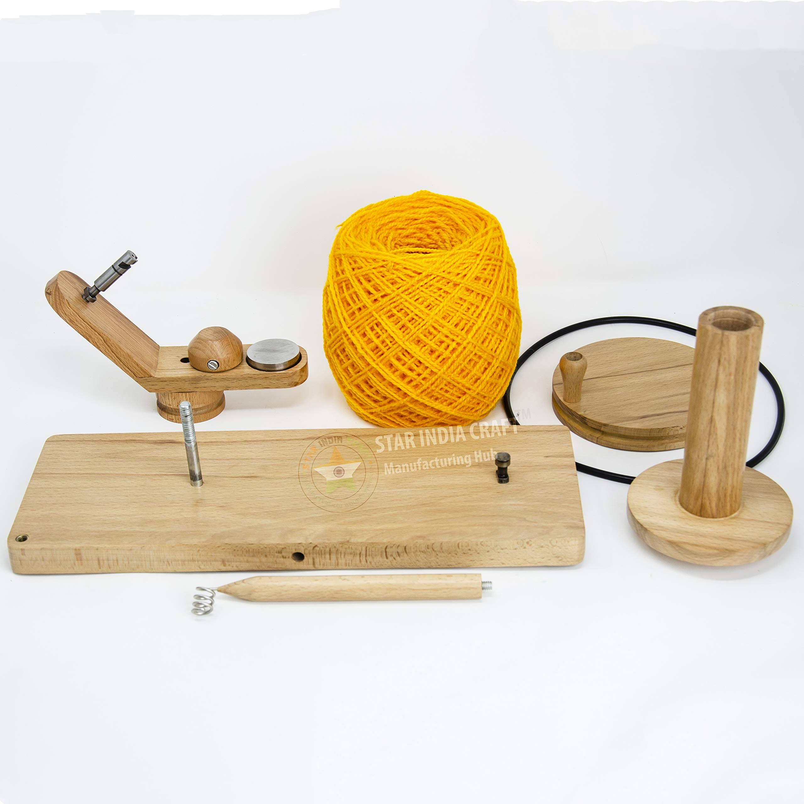 STAR INDIA CRAFT Handmade Center Pull Yarn Ball Winder - Natural Yarn Winder | Perfect DIY Knitter's Gifts for Knitting and Crocheting | Handcrafted Ball Winder (Yarn Winder, Standard) by STAR INDIA CRAFT (Image #8)