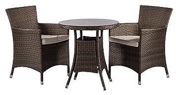 Savannah 2 Seat / Chairs Rattan Garden Furniture Set + Round Glass Dining  Table + Seat