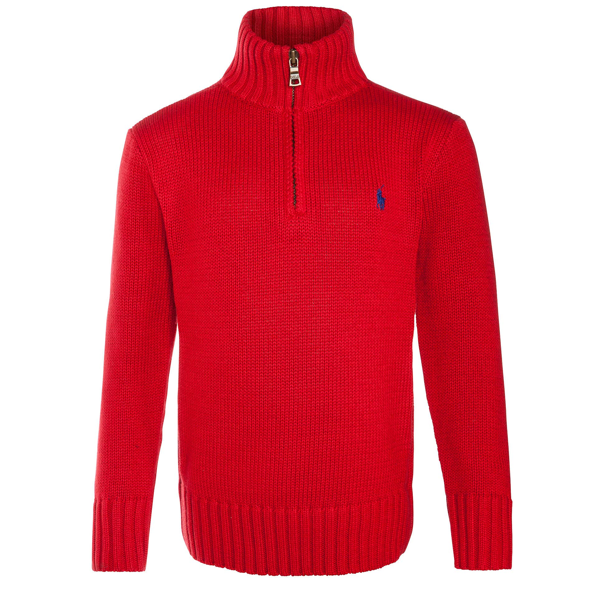 Polo Ralph Lauren Boys' Cotton Half-Zip Sweater (M (10-12)) Red