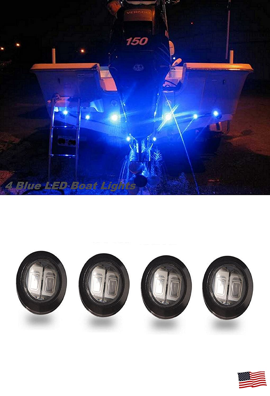 4 Blue LED Boat Light Waterproof 12v Deck Storage Kayak Bow Trailer Shadz_LED