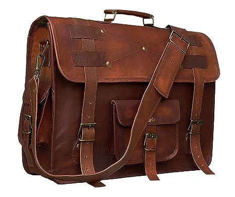 b001132914e5 Cuero 16 Inch Retro Buffalo Hunter Leather Laptop Messenger Bag Office  Briefcase College Bag (Choclate Brown)