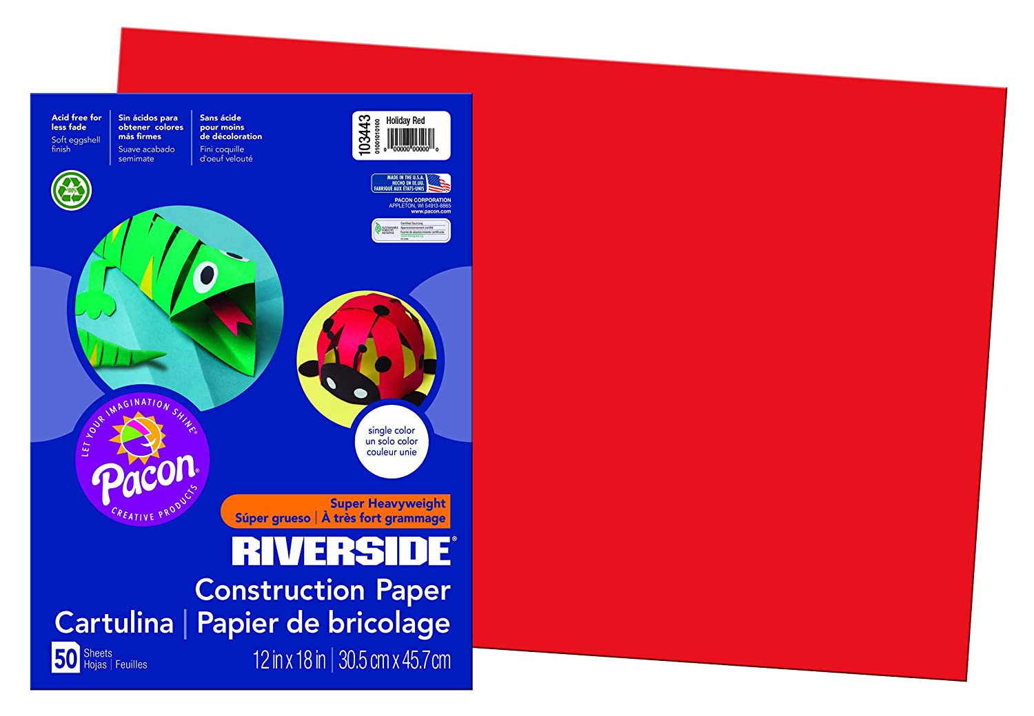 Riverside 3D Construction Paper, Holiday Red, 12' x 18', 50 Sheets 12 x 18 Pacon Corp. 103443