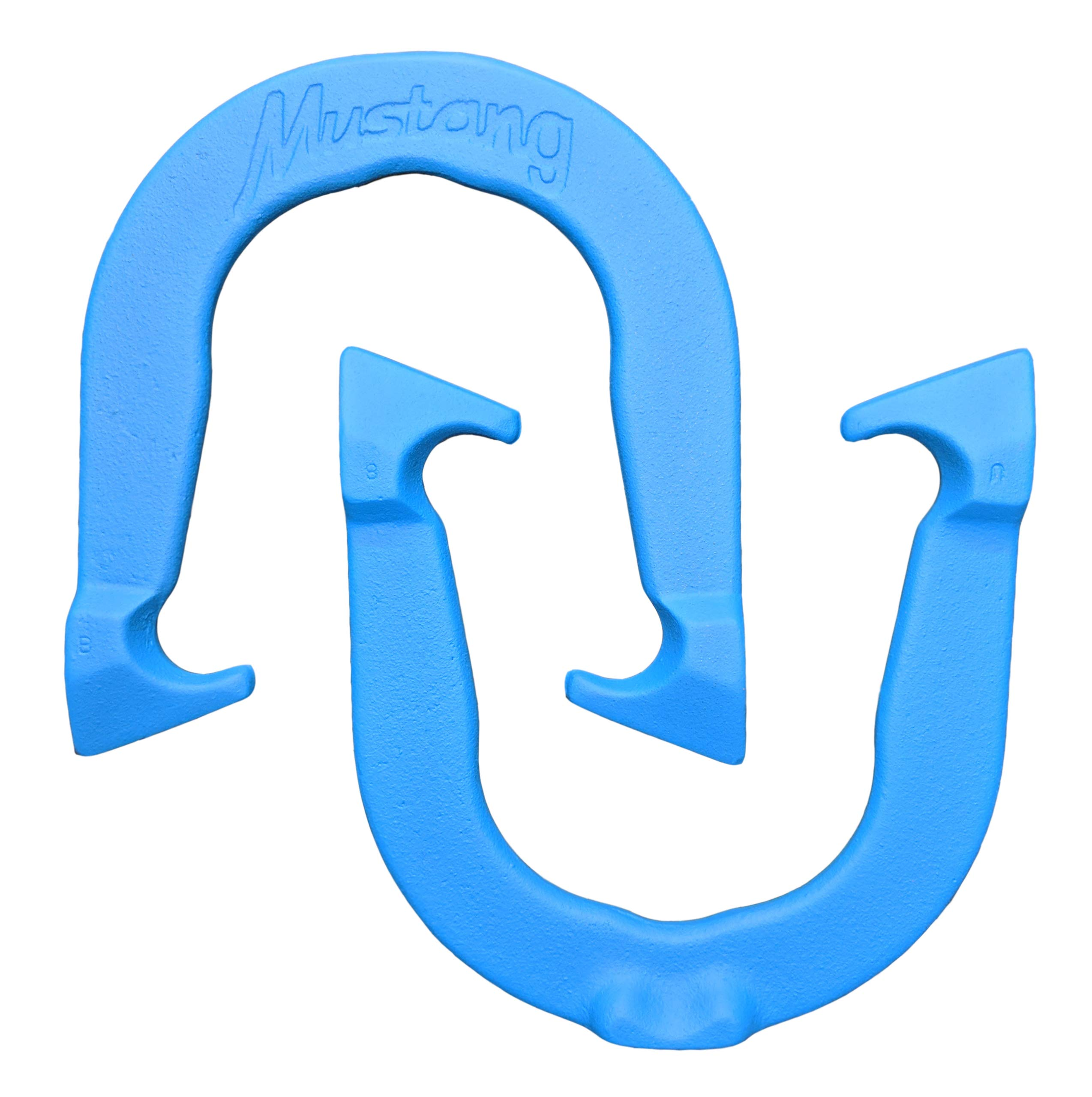 Mustang Professional Pitching Horseshoes- Made in USA (Blue- Single Pair (2 Shoes)) by Thoroughbred Horseshoes