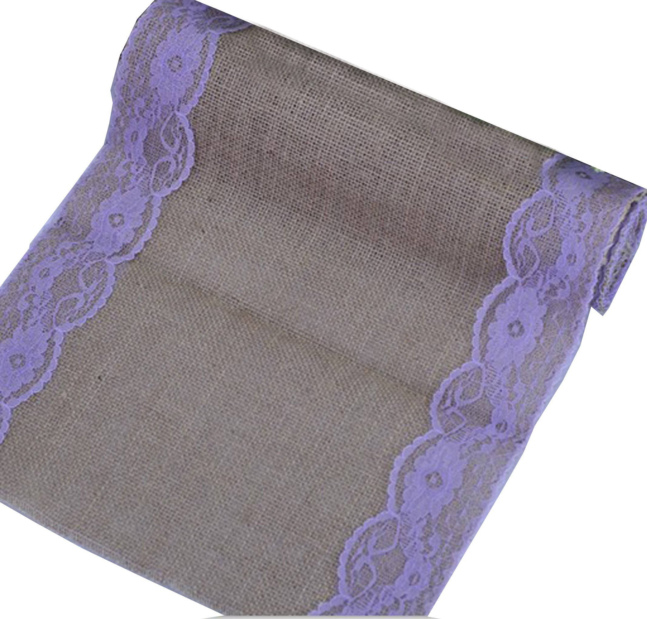 Huachnet Natural Jute Burlap Hessian Table Runner with Lace Trim Rustic Wedding Party Decor Sewing Craft 30*275CM (3 Yard) - Purple