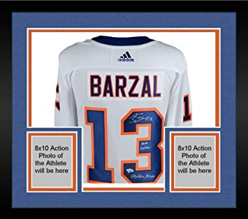 141e3700a Framed Mathew Barzal New York Islanders Autographed White Adidas Authentic  Jersey with Multiple Inscriptions - Limited