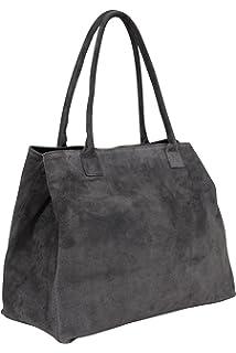 c340b6c3788 AMBRA Moda Sac à main en cuir velours pour femme Sac portés épaule en daim  Shopper