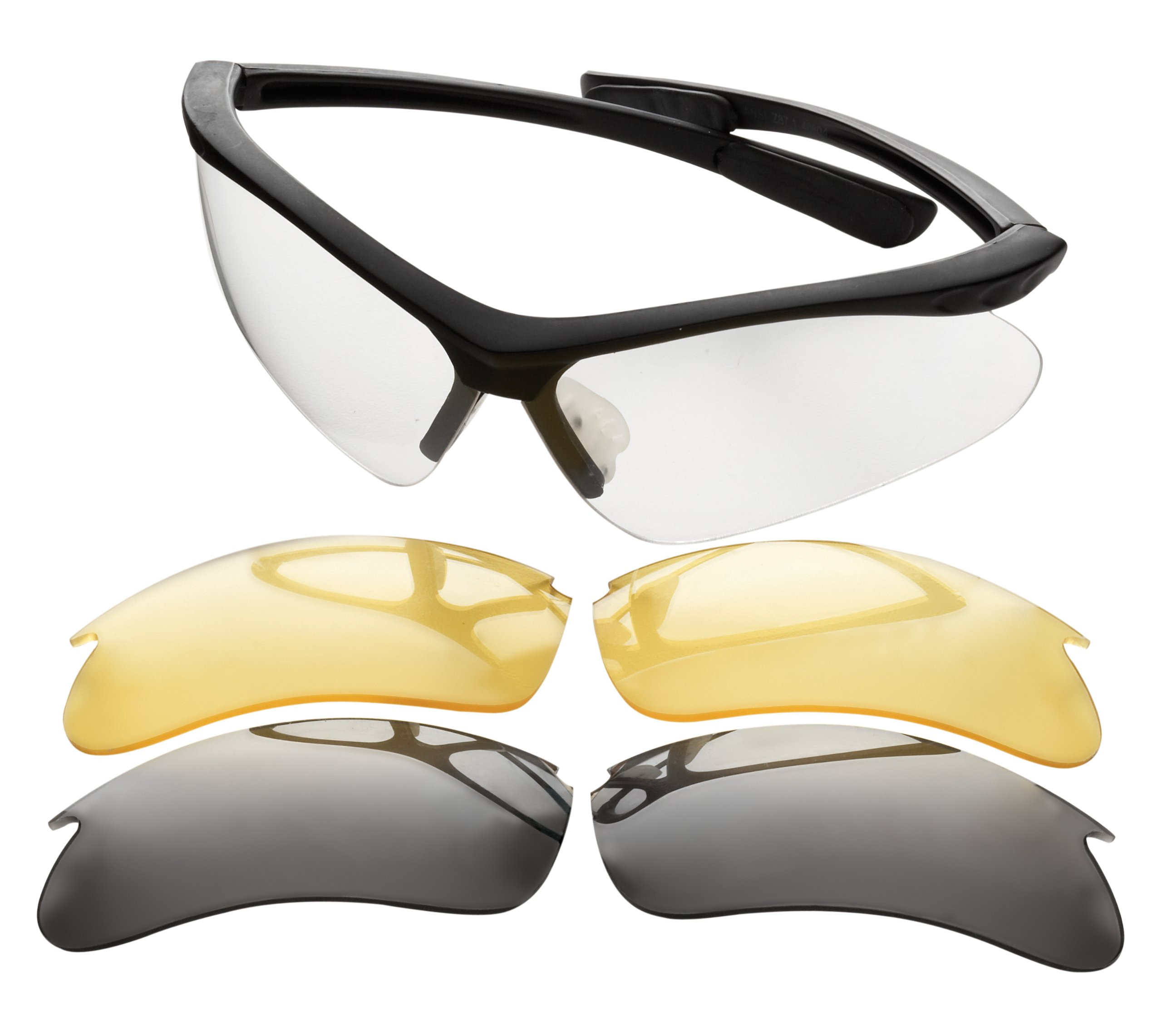 Champion Shooting Glasses (Black Frame, Inter changeable lens Clear/Smoke/Yellow)