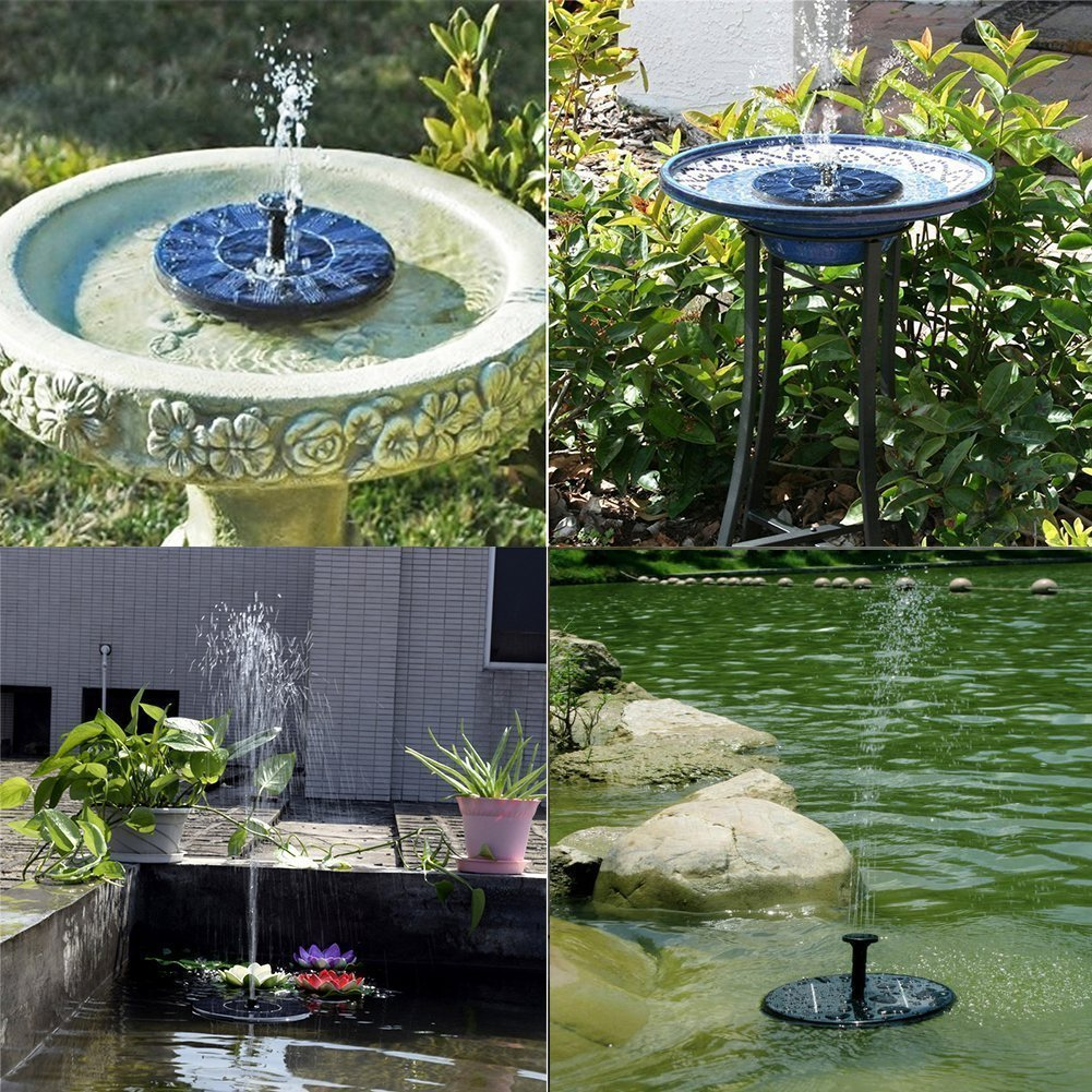 Solar Birdbath Fountain Pump Solar Bird Bath Fountain Pump - Outdoor Watering BirdBath Submersible Pump for Garden and Patio - 1.4W Solar Powered Floating Fountain Kit by zqasales (Image #4)