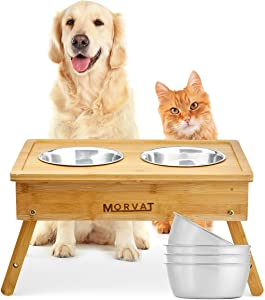 Morvat Raised Dog Bowl Feeding Station for Large Dogs -Double Dog Dishes Elevated for Large Dogs & Cat Pet Feeder, Adjustable Bamboo Dog Dishes for Large Dogs - 3 Heights & 4 Stainless Steel Dog Bowls