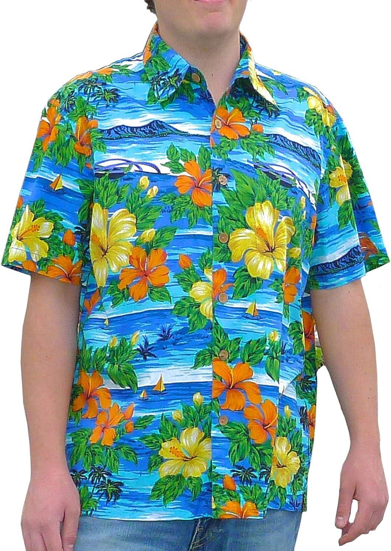 Squish Mens Hawaiian Shirt Classic Tropical Island Scene