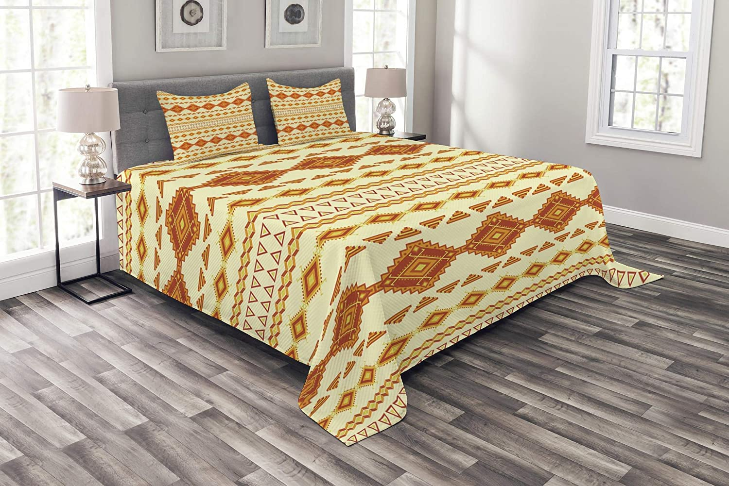 Ambesonne Aztec Bedspread, Old Pattern with Vintage Colors Mexican Indigenous Culture, Decorative Quilted 3 Piece Coverlet Set with 2 Pillow Shams, Queen Size, Orange Yellow