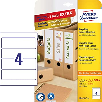 Etiketten f.Ordnerrücken auf A4 25 Blatt Rückenschilder