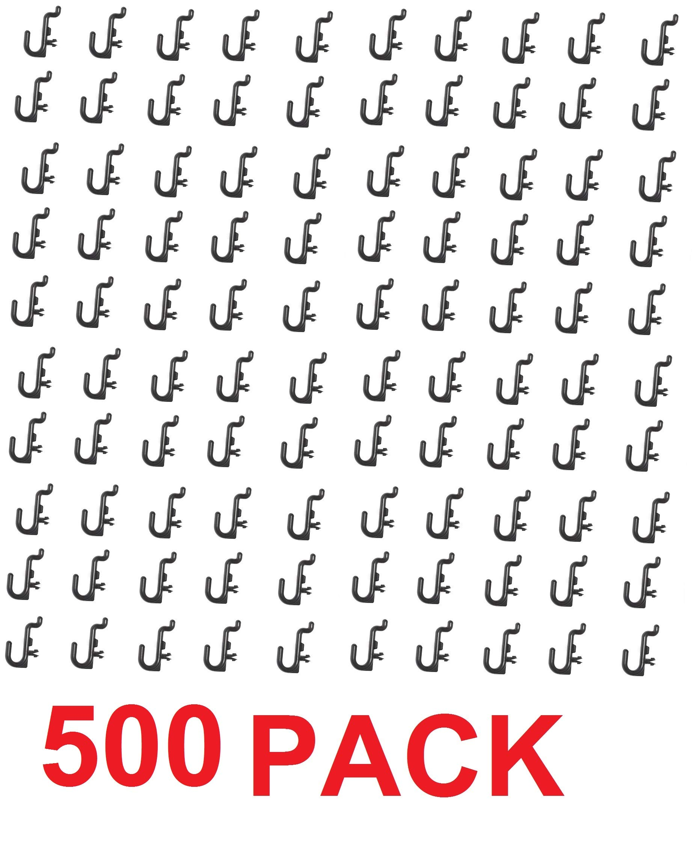 Peg Board Hook Kit Garage Tool Storage Craft Hooks Pegboard J Hook Style-BLACK- Plastic (500) by JSP Manufacturing