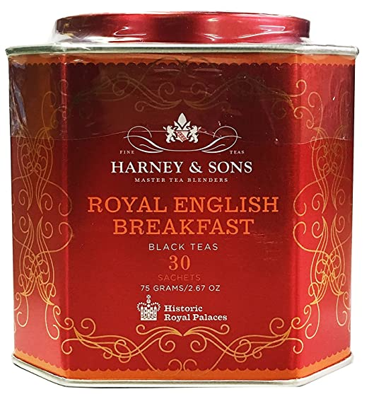 Harney & Sons Royal English Breakfast Tea Tin Blend of Black Teas, Great Present Idea - 30 Sachets, 2.67 Ounces